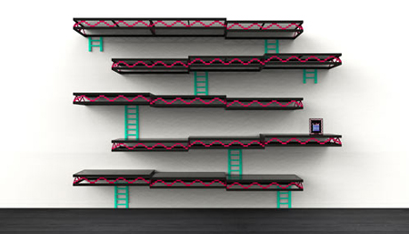 Donkey Kong inspired wall shelving