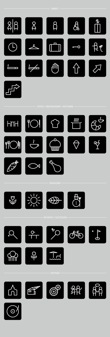 Hotel pictograms by Robert Karpati