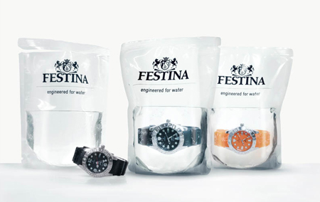 Waterproof watches packaged… in water