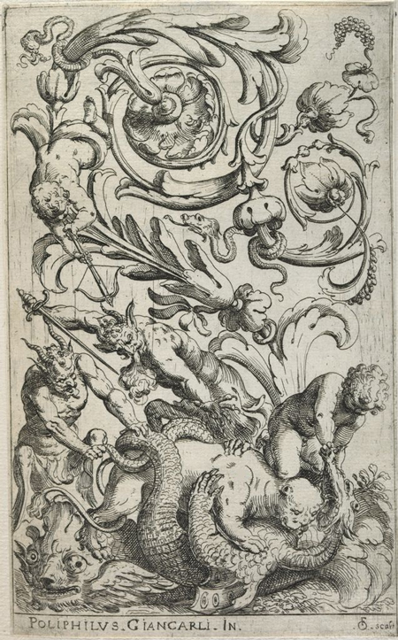Vertical grotesques etchings