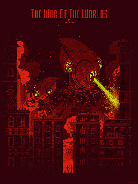 HG Wells screen printed posters by Kevin Tong