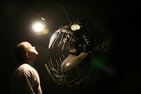 Deep sea angler lamp made from recycled objects