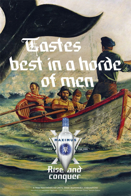 Manly ads for Maximus Vodka
