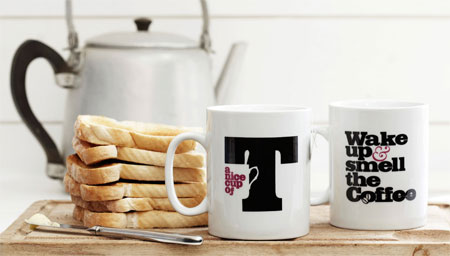 Typographic mugs
