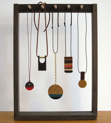 Modern wood and brass jewelry by Jason Lees Design
