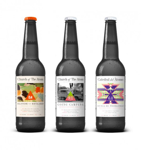 Church of the Atom beer labels