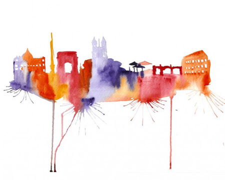 abstract-watercolor-paintings-famous-cities-elena-romanova-4-605x482