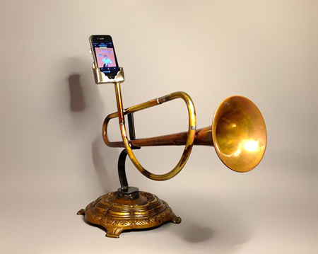 iPhone amplifiers made from recycled brass instruments