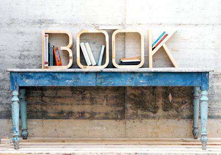 Wooden letters bookshelf