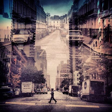 New-York – London double exposure photography