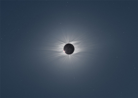 Composite image of the moon during a solar eclipse
