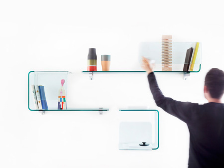 Foulard curved shelving system for fiam italia