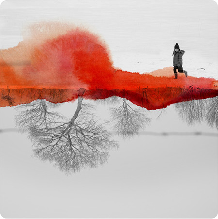Mirrored Photographs Combined with Watercolor