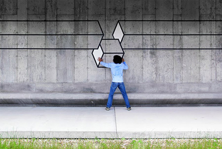 Geometric street art by Aakash Nihalani