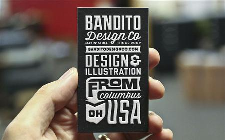 Typographic business card for Bandito Design inc.
