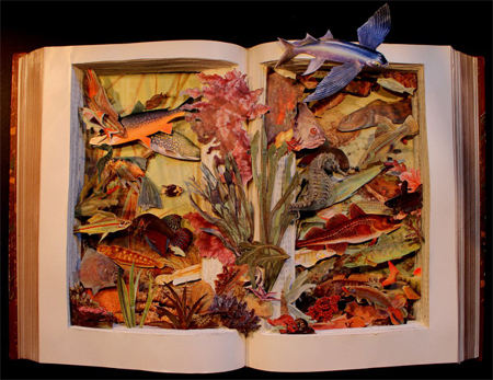 3D artworks carved in old books