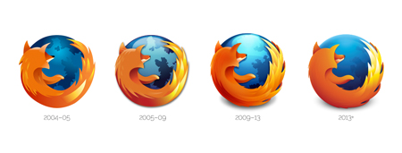 The Firefox logo simplification process