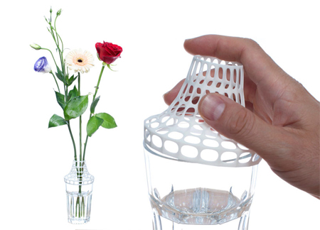 3D printed clip on vase modifies drinking glass