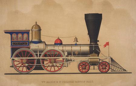 Mid-1800s locomotive lithographs