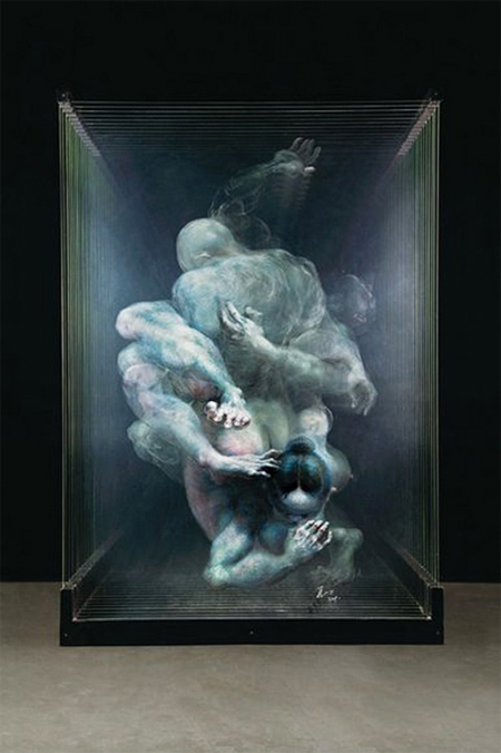 3D paintings on glass panes by Xia Xiaowan