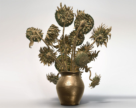 3D printed sculptural replica of vincent van gogh's sunflowers