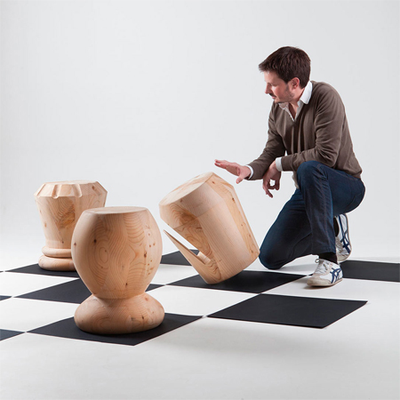 Stools inspired by chess pieces