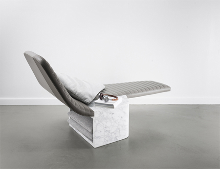 Leather & marble lounge chair