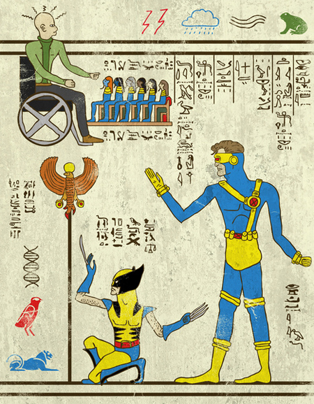 Superhero illustrations drawn like Egyptian hieroglyphs