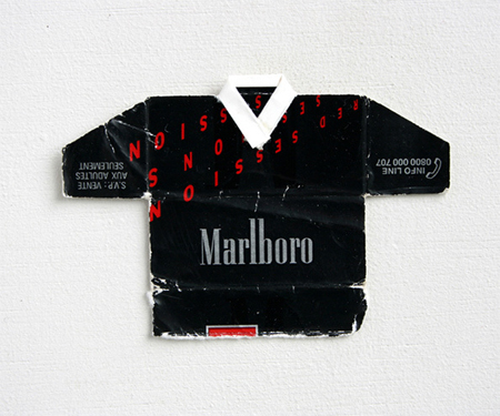 Old cigarette packets turned into football kits