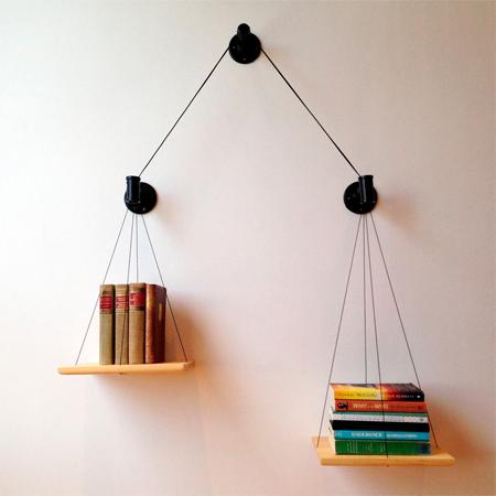 Balancing bookshelf