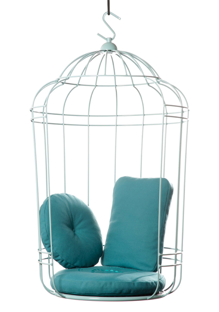 A bird cage like swing