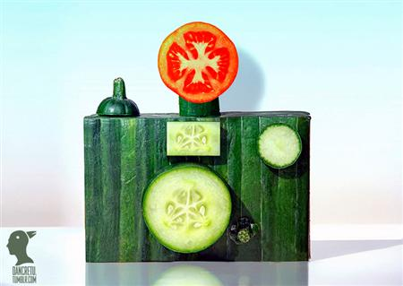 Food sculptures made with fruits and vegetables