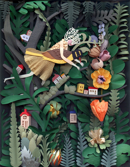 Cut-paper sculptures and illustrations by Elsa Mora