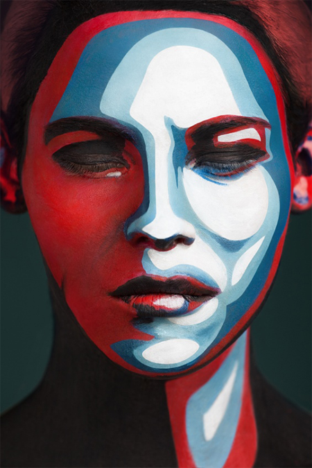Human faces flattened into iconic 2D art