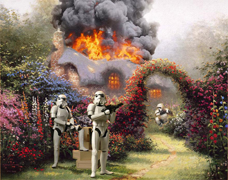 Bizarre mash-ups of Star Wars and Kinkade paintings