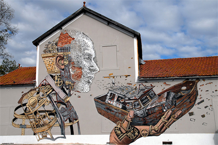 Street art by Pixel Pancho and Vhils
