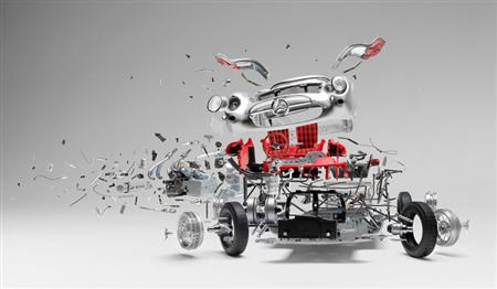 Handmade views of exploded automobiles