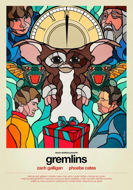 Classic 80s movie posters made in a stained glass windows style