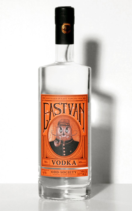 Funny East Van vodka packaging