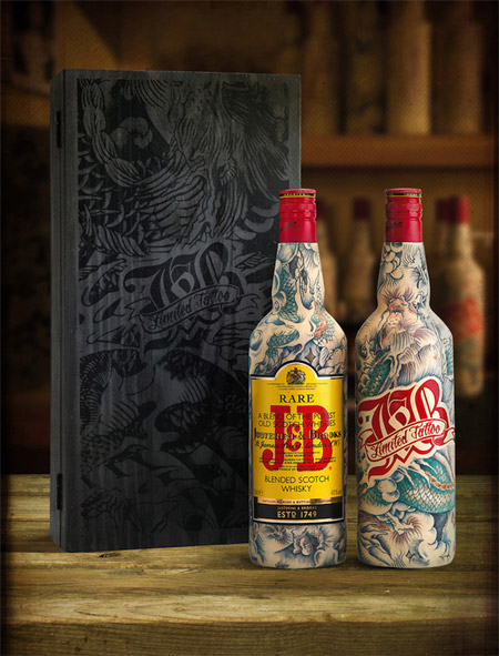 J&B limited tattoo edition bottles