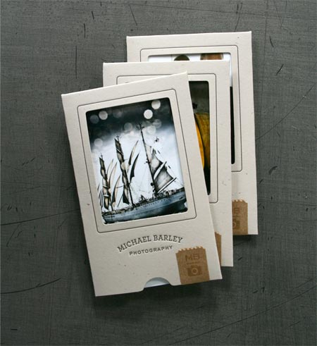 Awesome business card sleeves for a photographer