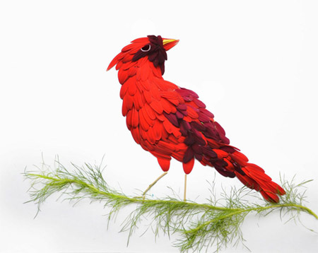 Beautiful birds made of flowers