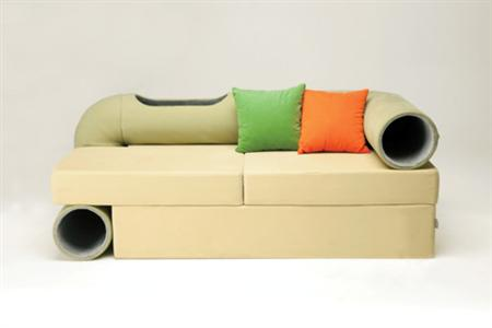 A sofa with a cat tunnel