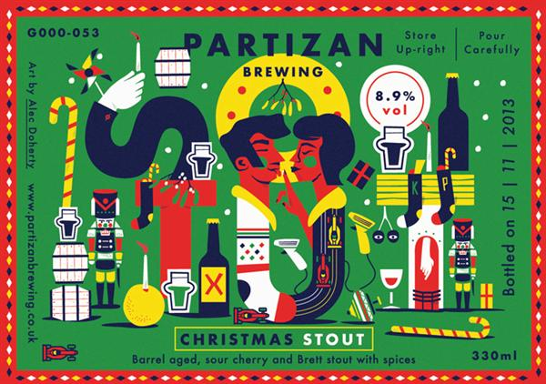 Illustrated labels by Alec Doherty for Partizan Brewing