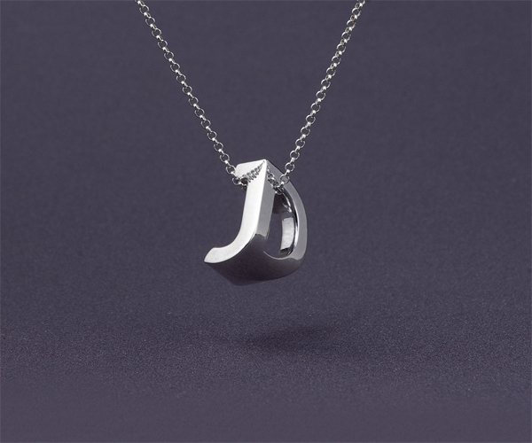 3D printed typographic monogram jewelry