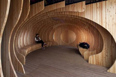 Wooden rest space in Seoul