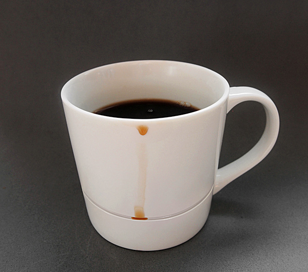 A mug design that prevents coffee stains