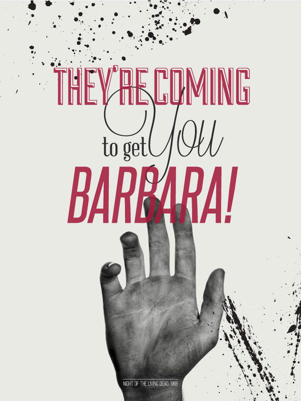 Typographic posters with zombie film quotes