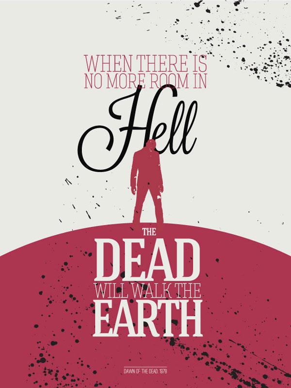 typographic posters with zombie film quotes