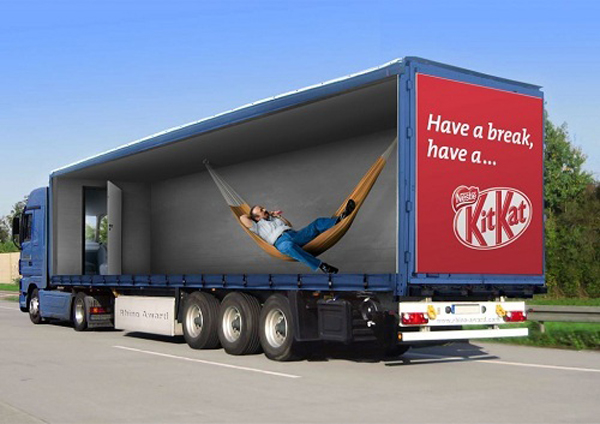 Truck advertising with optical illusions
